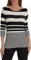Betty Barclay Stripe Three Quarter Length Sleeve Round Neck T-Shirt, Black/White