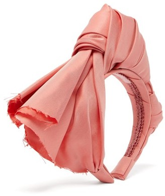 Marta Ferri - Knotted Silk-faille Headband - Womens - Light Pink