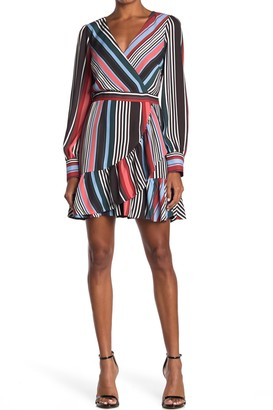 Adelyn Rae Florentine Striped Faux Wrap Ruffled Dress