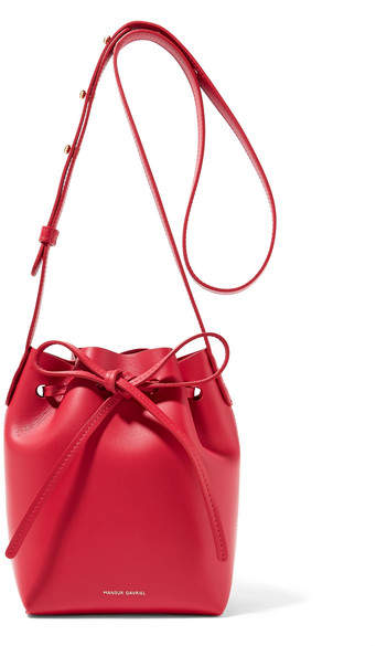 Mansur Gavriel Mini Mini Leather Bucket Bag - Red