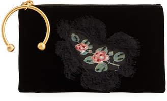 RED Valentino Velvet Floral Lace Applique Clutch Bag