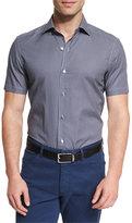 Ermenegildo Zegna Soccer Ball Print Short-Sleeve Sport Shirt, Navy