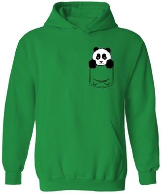 Flip Pocket Panda Bear Cute Animal Print Unisex Pullover Hoodie Green (M)