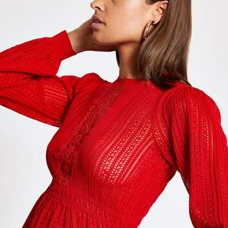 River Island Womens Red lace peplum knitted jumper