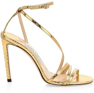 Jimmy Choo Tesca Snakeskin-Embossed Metallic Leather Sandals