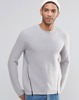 Asos Brushed Yarn Sweater With Front Zip Detail