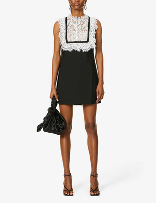 Self-Portrait Crystal-embellished lace and crepe mini dress