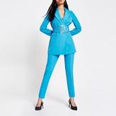 River Island Blue high waist cigarette trouser