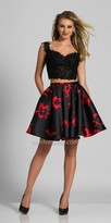 Dave and Johnny Rhinestone Lace Two Piece Floral Homecoming Dress