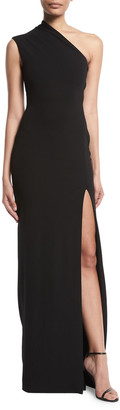 SOLACE London Averie One-Shoulder Side-Slit Maxi Dress