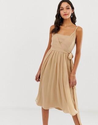 Asos Design DESIGN soft chiffon square neck midi prom dress with twist strap-Multi