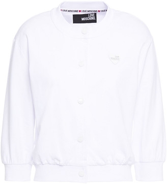 Love Moschino Cropped Appliqued French Cotton-terry Cardigan