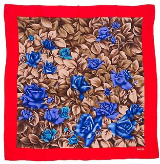One Kings Lane Vintage Gucci Red Floral Silk Scarf - Vintage Lux - red/brown/blue