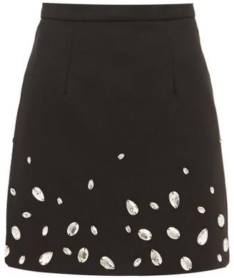 Christopher Kane Crystal-embellished Crepe Mini Skirt - Black