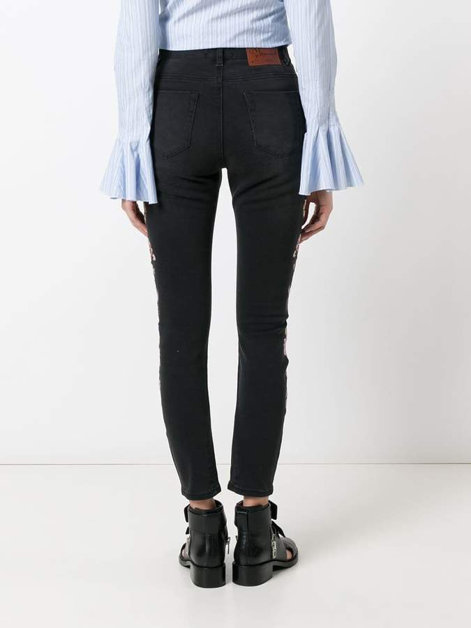 One Teaspoon Birds of Paradise embroidered cropped jeans