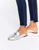 Faith Backless Silver Leather Loafers
