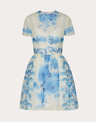 Valentino Short Printed Organza Dress Women Ivory/blue Silk 100% 40