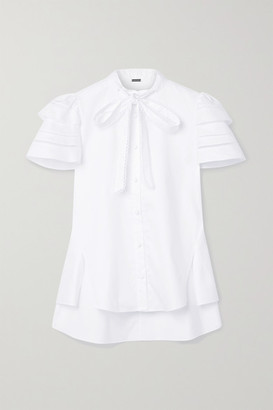 Adam Lippes Pussy-bow Crochet-trimmed Cotton-poplin Blouse - White
