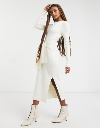 And other stories & eco ribbed tie waist knitted dress in off white