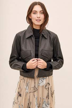 Selected Daisy Studded-Leather Jacket