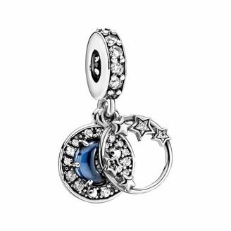 Pandora Blue Night Sky Crescent Moon & Stars Charm Pendant Sterling Silver 3.8 x 11.4 x 11.4 mm (D/H/W)