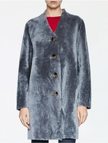 Calvin Klein Platinum Shearling Reversible Long Coat