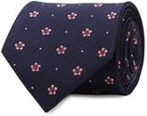 Eton Dark Blue Floral-jacquard Silk Tie