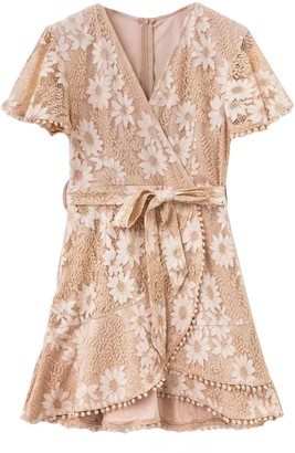 Goodnight Macaroon 'Vincy' Floral Laced Wrap Mini Dress