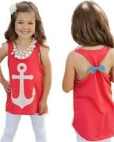 Juicart Girls Kids Anchor Vest Sleeveless Summer Clothes Cotton Tank Tops Bowknot T-Shirt (8-9years)