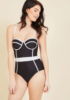 High Dive by ModCloth Need I Say Shore? One-Piece Swimsuit in Noir in M