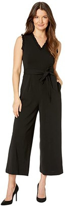 Calvin Klein Belted Ruffle Neck and Arm Jumpsuit (Black) Women's Jumpsuit & Rompers One Piece