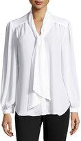 Neiman Marcus Long-Sleeve Self-Tie Bow Blouse, White