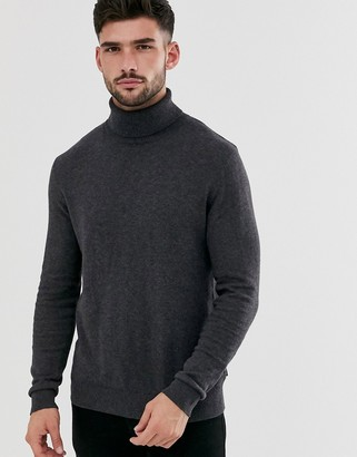 Jack and Jones Essentials knitted roll neck jumper-Grey