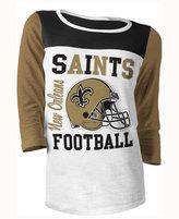 5th & Ocean Women's New Orleans Saints Three-Quarter Glitter T-Shirt