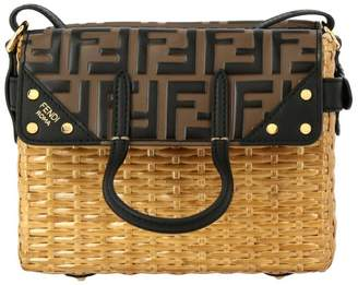 Fendi Crossbody Bags Flip Mini Wicker Bag With Ff All Over Leather Detail