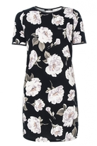 Quiz Black And Khaki Flower Crepe Tunic Dress