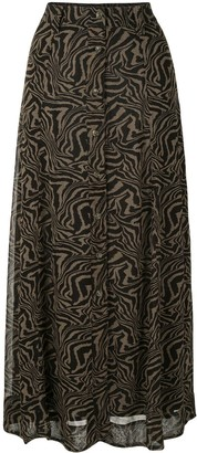 Ganni Abstract Print Long Skirt
