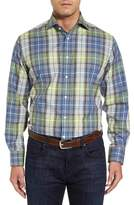Thomas Dean Men's Regular Fit Plaid Sport Shirt