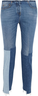 Valentino Cropped Frayed Patchwork High-rise Slim-leg Jeans