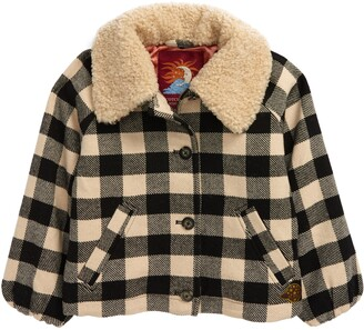 Scotch R'Belle Check Faux Shearling Trim Jacket