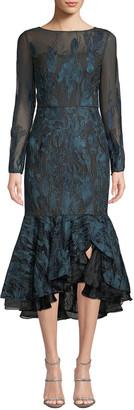 David Meister Long-Sleeve Metallic Embroidered Ruffle-Hem Dress