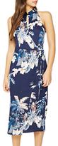 Miss Selfridge Mandarin Collar Dress, Navy