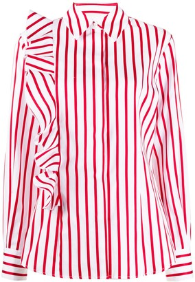 MSGM Striped Ruffle Sleeve Shirt