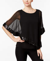 MSK Sequined Chiffon Asymmetrical Blouse