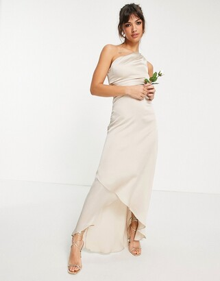 TFNC Bridesmaid one shoulder maxi dress in mink