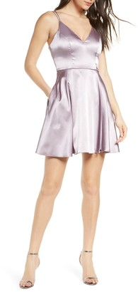 Sequin Hearts Strappy Satin Fit & Flare Minidress