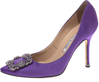 Manolo Blahnik Purple Satin Hangisi Crystal Embellished Pumps Size 36.5