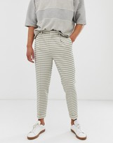 Asos Design DESIGN tapered crop smart trousers in cream waffle stripe