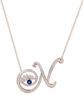 Tabayer Eye 18K Rose Gold, Sapphire & Diamond Natural Pendant Necklace