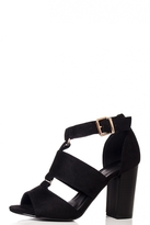 Quiz Black Cut Out Block Heel Shoe Boots
